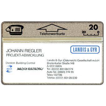 Visitkarten Landis & Gyr, Johann Riegler, 010K, 20 units