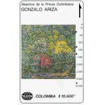 """The Phonecard Shop: Telecom - Maestros de la Pintura Colombiana, Gonzalo Ariza, """"Frondosidad"""", $10.500"""