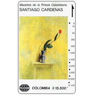 """Telecom - Maestros de la Pintura Colombiana, Santiago Cardenas, """"Tulipan sobre Amarillo"""", $15.500"""