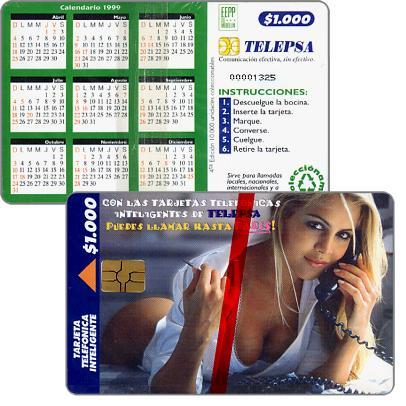 Telepsa - Sexy girl at phone / Calendar 1999, $1000