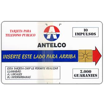 Phonecard for sale: Antelco, first chip issue, Company logo, 10 impulsos / 2000 Guaranies
