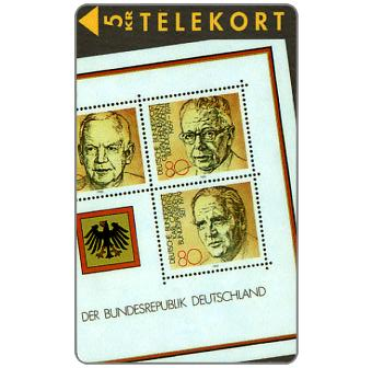 The Phonecard Shop: Tele Sønderjylland - Stamps with German presidents, puzzle 2/2, 5 kr