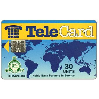 The Phonecard Shop: TeleCard, world map with bank logo, white reverse, 30 units
