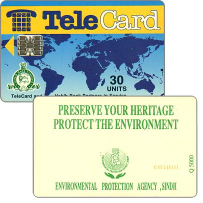 TeleCard, world map with bank logo, Preserve Your Heritage (Q 5000), 30 units