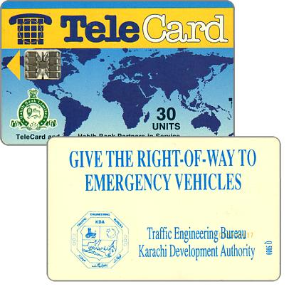 TeleCard, world map with bank logo,  Give the Right-of-Way, 30 units