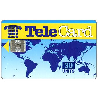 """TeleCard, world map with bank logo, white reverse, overprinted 30 units (blue """"units"""")"""