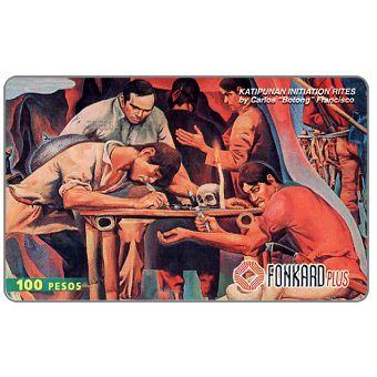 """PLDT - 'Katipunnan Initiation Rites', painting by Carlos """"Botong"""" Francisco, 100 Pesos"""