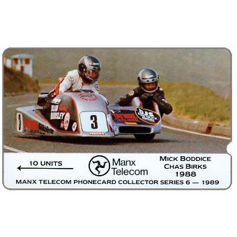 The Phonecard Shop: TT Races 1989 - Mick Boddice & Chas Birks, deep notch, 10 units