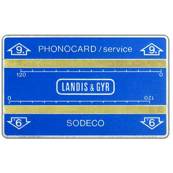 """The Phonecard Shop: Service card, 4 mm. band, without notch, 705S, """"9."""" in arrow, 240 units"""