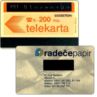 The Phonecard Shop: Provisional yugoslavian card overprinted 'PTT Slovenija', 200 units