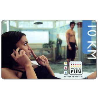 The Phonecard Shop: Telekom Srpske Mobi's - Girl at phone, 10 KM