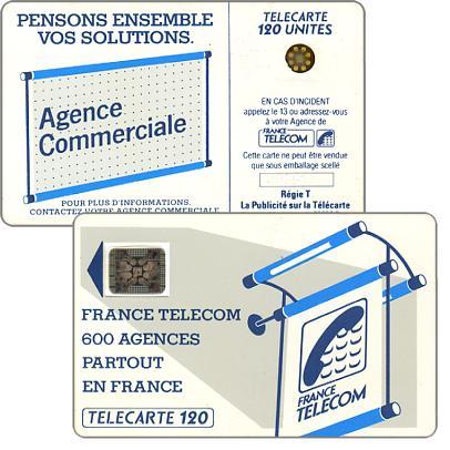 """The Phonecard Shop: Definitive """"600 Agences"""", text """"La Publicitè…"""", chip SC-4an Ø7 with frame, 120 units"""