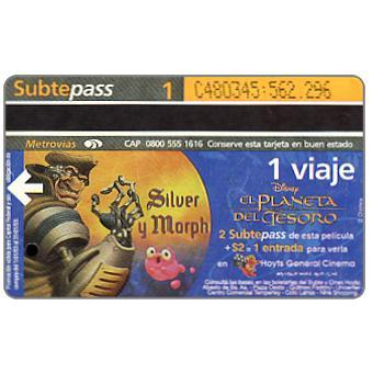 The Phonecard Shop: Metrovias - Disney's El Planeta del Tesoro, Silver y Morph (Buenos Aires subway card), 1 ride