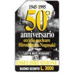 The Phonecard Shop: Italy, 50° anniversario eccidio nucleare Hiroshima e Nagasaki, 30.06.96, L.1000