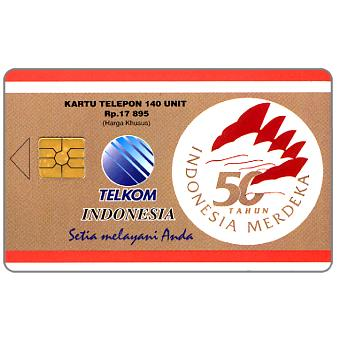 Phonecard for sale: First chip issue, 50th Anniversary of Indonesian Independence, 140 units