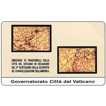 Phonecard for sale: First issue, Stamps from Vatican City, Discovery of the Americas, L.5.000