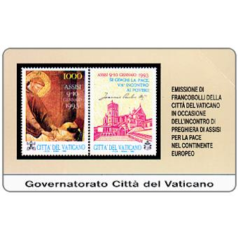 Phonecard for sale: Stamps from Vatican City, Assisi for Peace in Europe, L.10.000