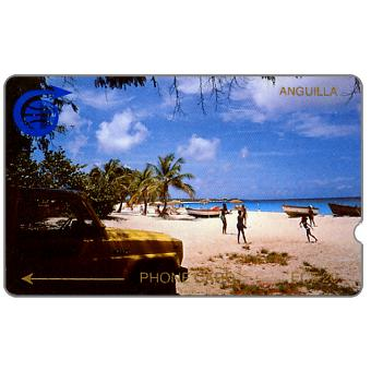 Phonecard for sale: First issue, Meads Bay, beach and jeep, deep notch, 1CAGC, EC$20
