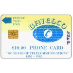 The Phonecard Shop: Bahamas, First issue, 100 years of Telecommunications, $10