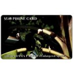 The Phonecard Shop: The Bahamas Parrot, silver hand-written number on chipside, $5.00