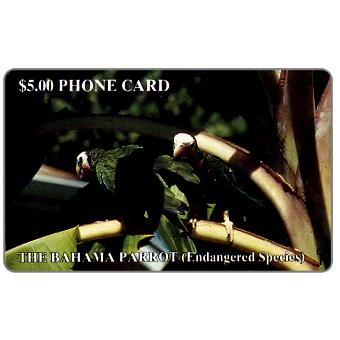 Phonecard for sale: The Bahamas Parrot, silver hand-written number on chipside, $5.00
