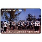 The Phonecard Shop: Bahamas, Police Force Band, golden number on chipside, $10