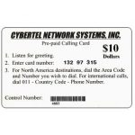 The Phonecard Shop: Cybertel Network Systems - Card used by US military peace force during the war, $10
