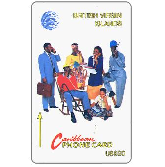 Phonecard for sale: Six People at Phone, 14CBVA, English text, US$20