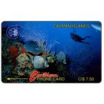 The Phonecard Shop: Cayman Islands, Underwater scene, old logo, 1CCIB, CI$7.50