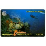 The Phonecard Shop: Underwater scene, new logo, 5CCIA, CI$7.50