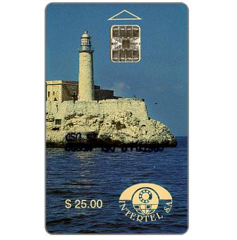 The Phonecard Shop: Cuba, First issue, Intertel, Castillo de El Morro, $25