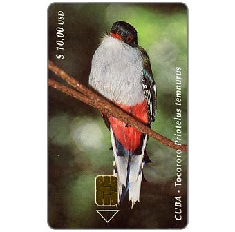 Phonecard for sale: Etecsa, Birds, Tocororo, $ 10