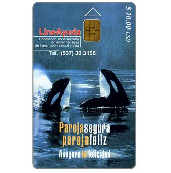 Phonecard for sale: Etecsa, LineAyuda, killer whales, $ 10