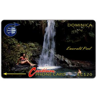 Phonecard for sale: Emerald Pool, 4CDMB, control in silver square, EC$20