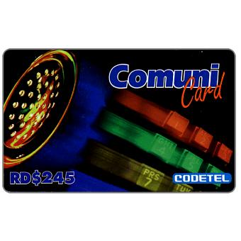 Phonecard for sale: Codetel ComuniCard - Phone & Receiver, 3 colours keypad, RD$245