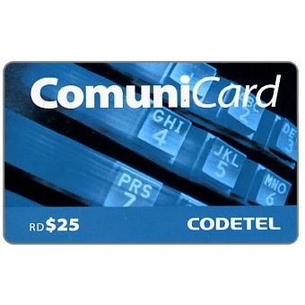Phonecard for sale: Codetel ComuniCard - Keypad, light blue, RD$25