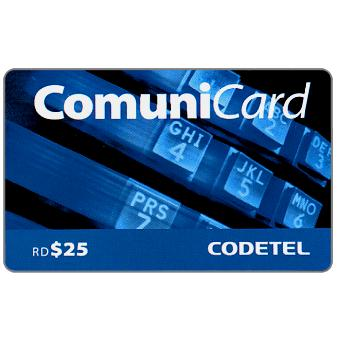 Phonecard for sale: Codetel ComuniCard - Keypad, dark blue, RD$25