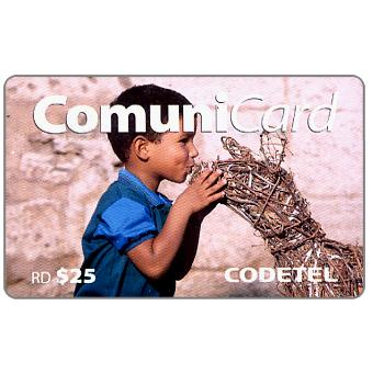 Phonecard for sale: Codetel ComuniCard - Child with wooden animal, RD$25