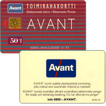 Phonecard for sale: Avant - Toimirahakortti, 01.93, 50 mk