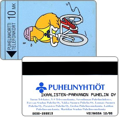 Phonecard for sale: Ikaalisten - Parkanon Puhelin Oy - Biking Buzzby, exp. 12/95, 10 mk