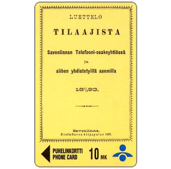 Phonecard for sale: Savonlinna Telephone Company - 1893 Phone Book, 10 mk