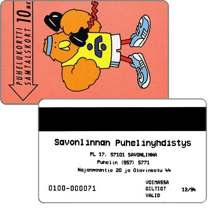 Phonecard for sale: Savonlinna Telephone Company - Athlete Buzzby, exp. 12/94, 10 mk