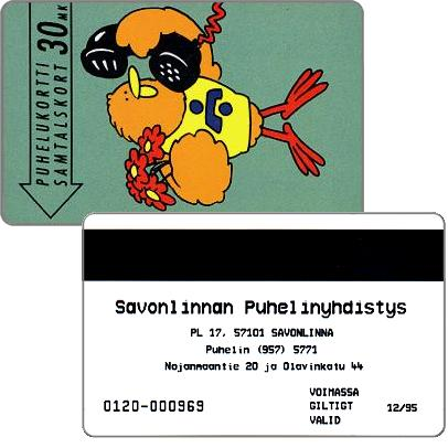 Phonecard for sale: Savonlinna Telephone Company - Buzzby and Flowers, exp. 12/95, 30 mk