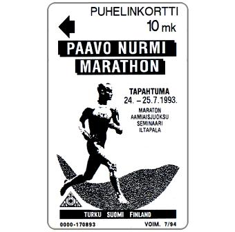 Phonecard for sale: Turku - Paavo Nurmi Marathon, 10 mk