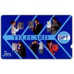 The Phonecard Shop: Great Britain, GPT Telecard, people at phone, deep notch, 10 units