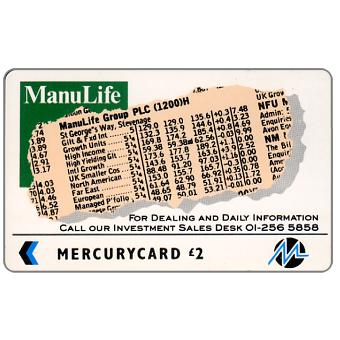 Phonecard for sale: Mercury - Manulife (01 Phone No.), £2