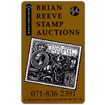 Phonecard for sale: Mercury - Brian Reeve Stamp Auctions (071-836 2391 Phone No.), 50p