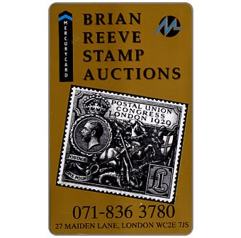Phonecard for sale: Mercury - Brian Reeve Stamp Auctions (071-836 3780 Phone No.), 50p