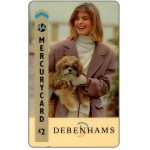 Phonecard for sale: Mercury - Debenhams, lady & dog, £2