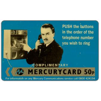 "Phonecard for sale: Mercury - Harry Enfield: ""Push"" (0800 Phone No.), complimentary, 50p,"